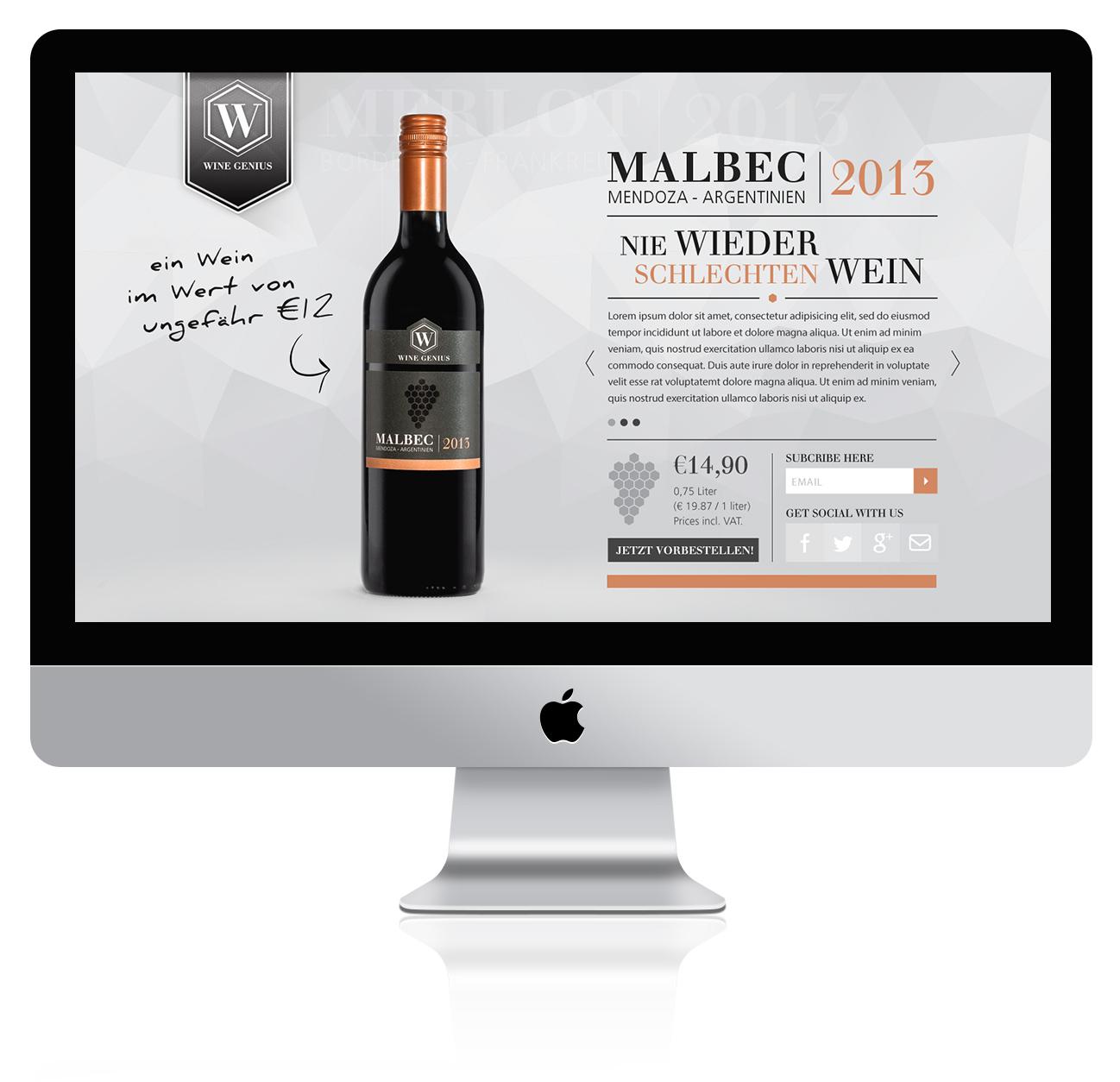 Malbec Wine Label Design & Web Branding - Landing page design