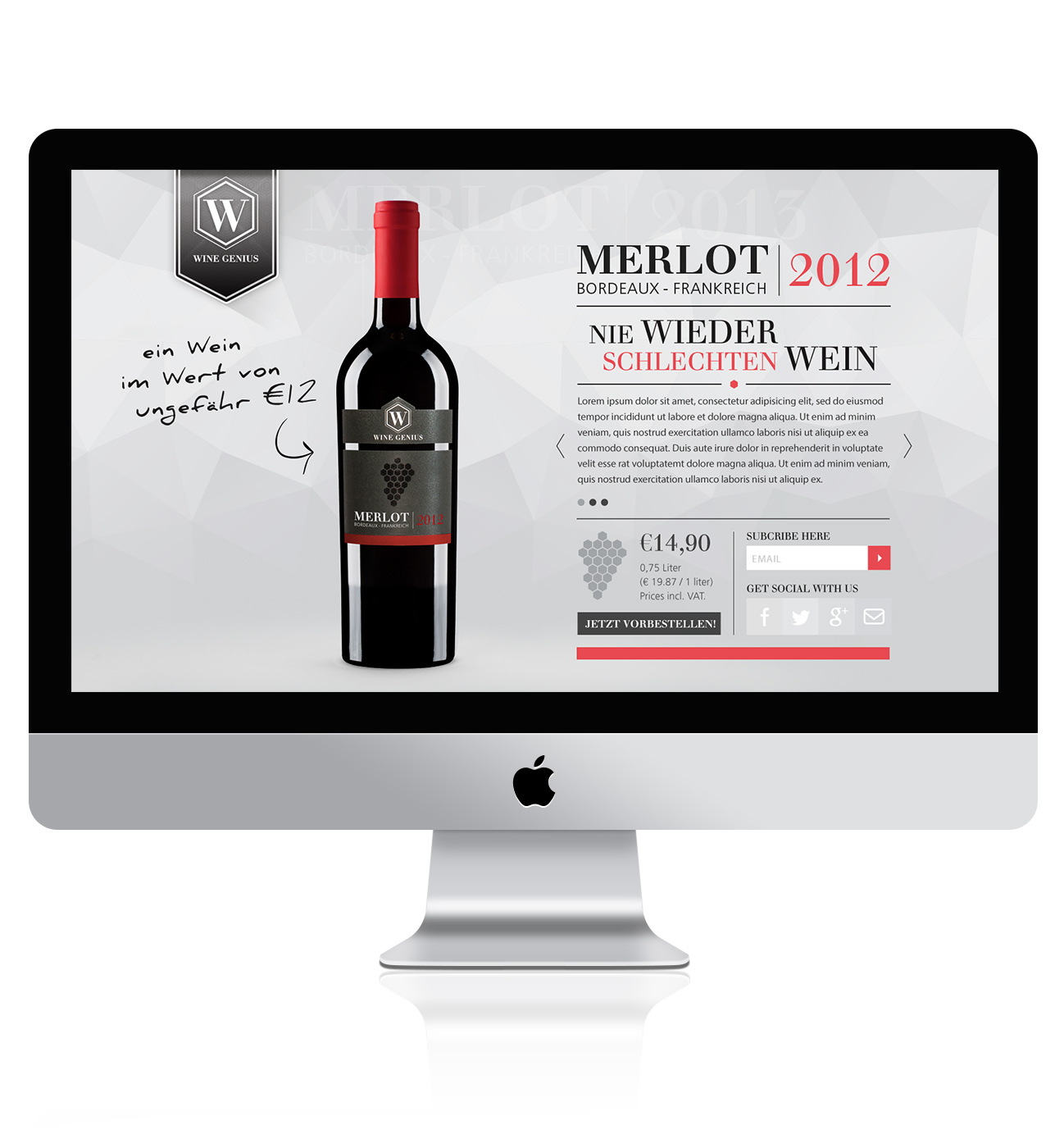 landing page design for wine genius