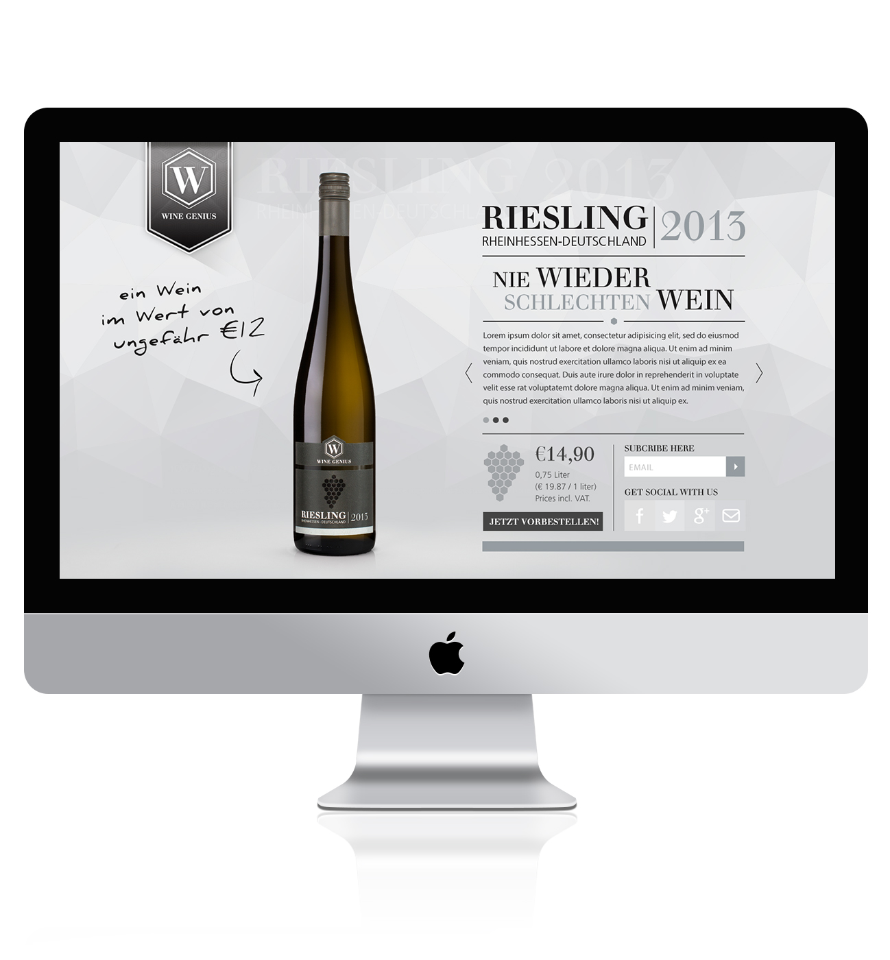 Riesling product landing page design