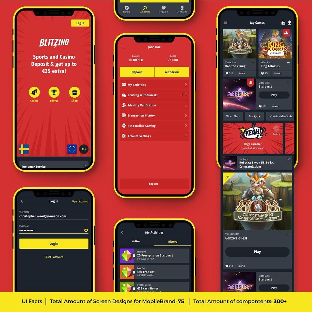 Blitzino New Brand identity, Styleguide / Design system & UX/UI Design for responsive Web, Mobile & App | Designed Jun 2018 – Aug 2018 @wearecomeon | Check our full description here: 👉🏻 https://tiny.cc/creativechris_PDF