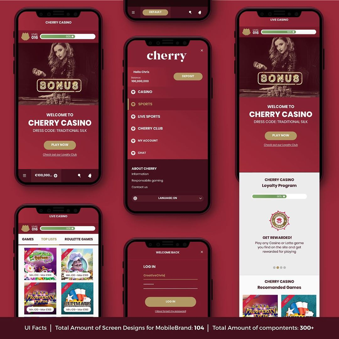 CherryCasino Re-Fresh Brand identity, Styleguide / Design system & UX/UI Design for responsive Web, Mobile & App | Designed Oct 2018 – Oct 2018 @wearecomeon | Check our full description here: 👉🏻 https://tiny.cc/creativechris_PDF