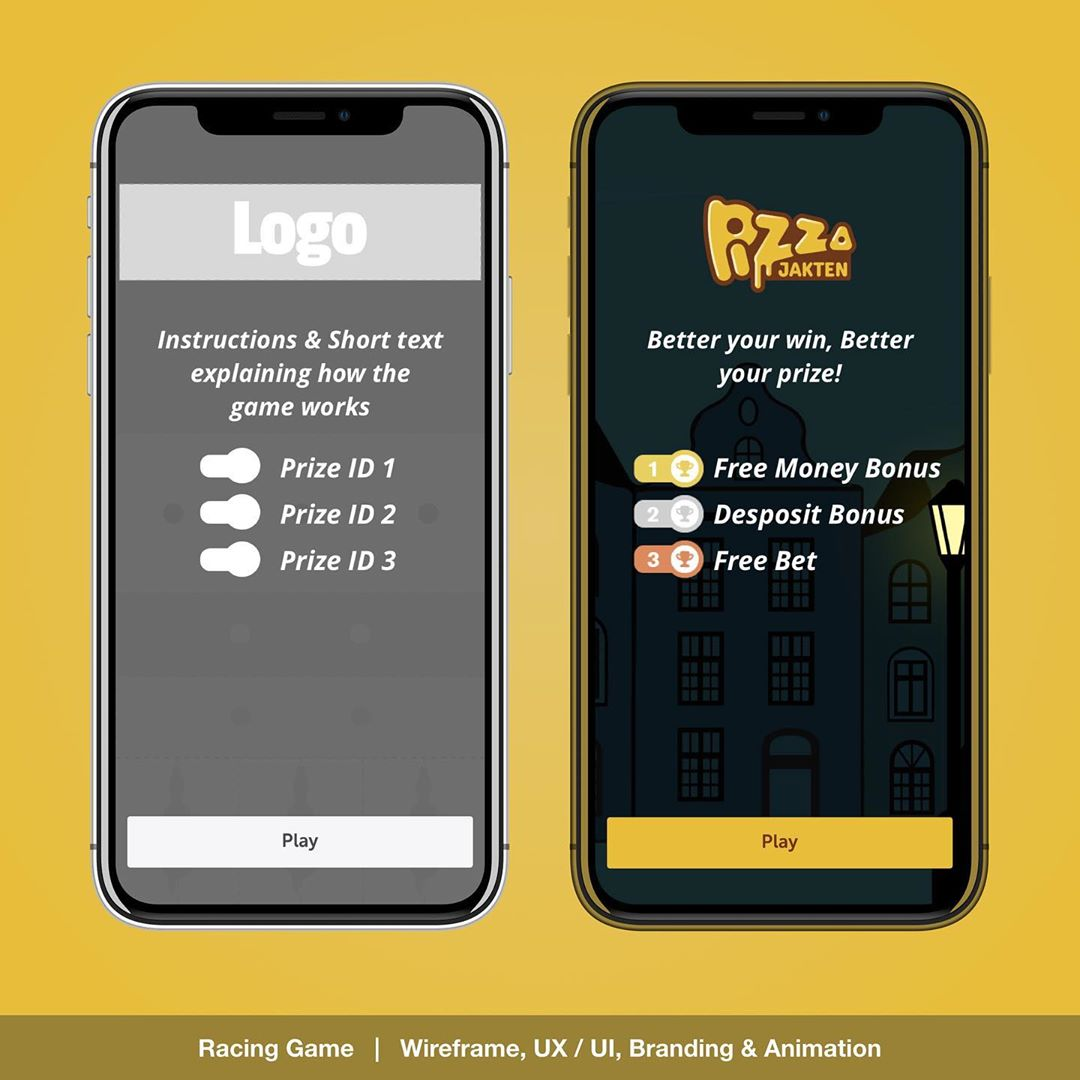 """""""Racing Game Template UX / UI"""" – PIZZA jakten player selection animation for the Daily Challenge Game. UX / UI , Layout , Branding, prototyping and Animation designs for responsive Web, Mobile & App. 