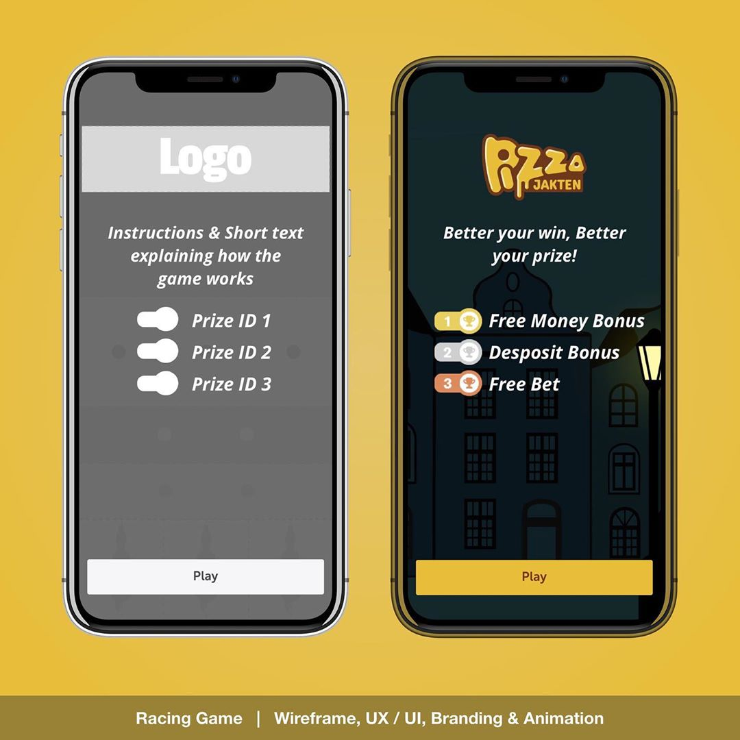 """Racing Game UX / UI"" – PIZZA jakten player selection animation for the Daily Challenge Game. UX / UI , Layout , Branding, prototyping and Animation designs for responsive Web, Mobile & App. 
