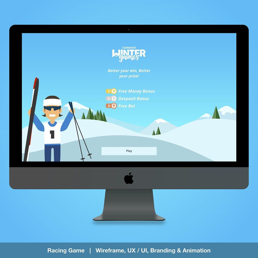 """""""Racing Game UX / UI"""" – Ski cross country Race Game overview for the Daily Challenge Game. UX / UI , Layout , Branding, prototyping and Animation designs for responsive Web, Mobile & App. 