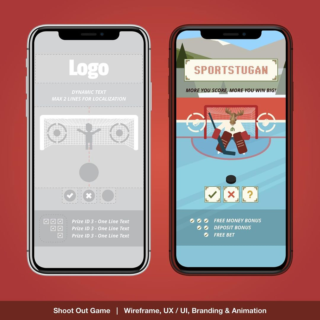 """""""Shootout Game UX / UI"""" – Casinostugan Icehocky shoot out game overview for the Daily Challenge Game. UX / UI , Layout , Branding, prototyping and Animation designs for responsive Web, Mobile & App. 